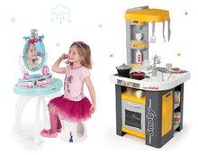 Set kuchynka pre deti Tefal Studio Smoby so zvukmi a kozmetický stolík Frozen 2v1
