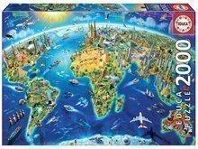 Puzzle Genuine World Landmarks Globe Educa 2000 delov od 11 leta