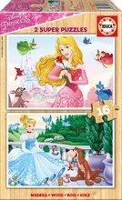 Puzzle din lemn Prinţese Disney Educa 2x16 de piese de la 4 ani