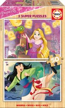 Dřevěné puzzle pro děti Disney Princezny Educa 2x50 dílů od 5 let