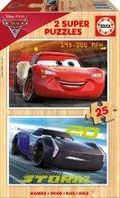 Puzzle din lemn  Cars 3 Educa 2x25 de piese de la 4 ani