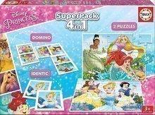 Detské puzzle Disney Princezné SuperPack 4 v 1 Educa 2xdomino, puzzle, pexeso EDU17198