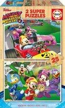 Drevené puzzle pre deti Mickey and the roadster racers Educa Disney 2*25 dielov EDU17234