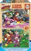 Dřevěné puzzle pro děti Mickey and the Roadster Racers Educa Disney 2x50 dílů od 5 let