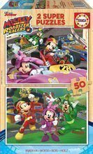 Drevené puzzle pre deti Mickey and the roadster racers Educa Disney 2*50 dielov EDU17236