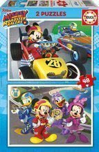 Otroške puzzle Mickey and the roadster racers Educa 2x48 delov