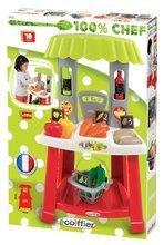 Obchody pre deti - Zeleninový stánok 100% Chef Organic Écoiffier s nákupným košíkom a 18 doplnkami od 18 mes_3