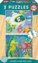 Gyermek fa puzzle Tengeri állatok Educa 2x 9 darabos
