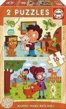 Puzzle din lemn Animale domestice Educa 2x16 piese de la 4 ani