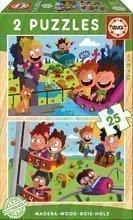 Puzzle din lemn Circ şi parc de distracţie Educa 2x25 piese de la 4 ani