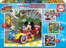 Puzzle Mickey Roadster Racers Educa progresivne 12-16-20-25 delčkov