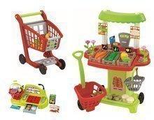 Obchody pre deti - Zeleninový stánok 100% Chef Écoiffier s pokladňou, nákupným vozíkom a 65 doplnkami od 18 mes_18