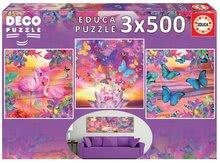 Puzzle Tropical Views Educa 3x500 delov in Fix lepilo od 11 leta