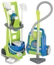 Detský upratovací vozík Clean Home Écoiffier s vysávačom 10 doplnkov modro-zelený