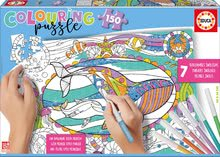 Puzzle omaľovánky Morský svet Educa 150 dielov so 6 ceruzkami a Fix lepidlo od 7 rokov