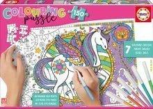 Puzzle kifestők Egyszarvú Educa 150 darabos 6 színesceruzával és Fix ragasztó 7 évtől