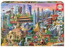 Puzzle Asia Landmarks Educa 1500 dielov a Fix lepidlo od 11 rokov
