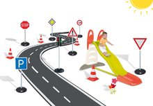 SMOBY 310261-5 šmykľavka Toboggan XL s vodou+automatický semafor+dopravné značky+cestné kužele od 3 rokov