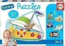 Puzzle pre najmenších Baby 5 Educa Dopravné prostriedky II. od 12 mes