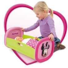 Staré položky - Set kočík Minnie pre bábiku Smoby hlboký (58 cm rúčka), kolíska s perinkou a bábika so šatôčkami 32 cm od 18 mes_5