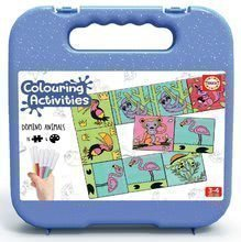 Domino vymaľovánky Zvieratá Colouring Activities Educa v kufríku 18 dielov - maľovanie s fixkami