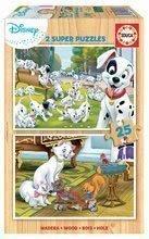 Lesene puzzle za otroke Disney živalce Educa 2x25 delov