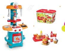 Set dětská kuchyňka Cooky Smoby s křidélky a sada hamburgerů 100% Chef od 18 měsíců
