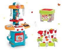 Set kuchyňka pro děti Cooky Smoby s křidélky a jídelní souprava v dóze na sezení od 18 měsíců