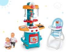 Set kuchynka pre deti Cooky Smoby s krídelkami, jedálenská stolička Frozen a bábika Baby Nurse Zlatá edícia od 18 mesiacov