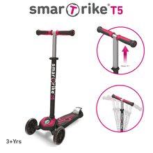 Dětská koloběžka T5 smarTrike s T-lock systémem a nastavitelnou rukojetí černo-cyklámenová