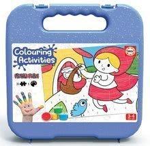 Puzzle vymaľovánky Červená Čiapočka Colouring Activities Educa v kufríku 20 dielov-maľovanie prstami 24*34 cm od 3 rokov EDU18210