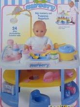 Pelenkázó asztal játékbabának Nursery Écoiffier játékkonyhával 18 hó-tól és 24 db kiegészítővel kék-fehér