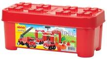 Stavebnica požiarne autá v dóze Abrick Écoiffier s garážou červená od 18 mesiacov 1396