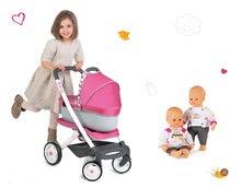Set kočík retro Maxi Cosi&Quinny Smoby 3v1 s nosítkom pre bábiku a bábika Baby Nurse 32 cm