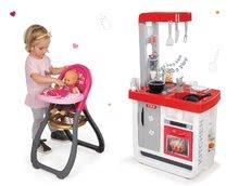 Set detská kuchynka Bon Appétit Smoby so zvukmi a jedálenská stolička s bábikou Baby Nurse Zlatá edícia