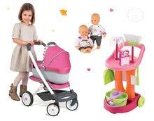 Set kočík retro Maxi Cosi&Quinny Smoby 3v1 s nosítkom pre bábiku, bábika a upratovací vozík 100% Chef