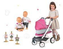 Set cărucior adânc retro Maxi Cosi&Quinny Smoby 3in1 cu coşuleţ bebe, păpuşă Baby Nurse cu 3 hăinuţe
