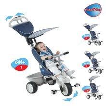 Dětská tříkolka Recliner 4v1 smarTrike s polohovatelnou opěrkou a pláštěm od 6 měsíců modro-šedá