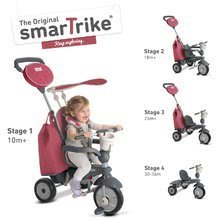 Tricikel Voyage 4v1 smarTrike TouchSteering červená s gumenými kolesami a tlmičom od 10 mes
