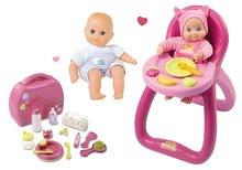 Komplet stolček za hranjenje MiniKiss Smoby z zvokom in previjalni kovček z dojenčkom