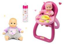 Szett etetőszék MiniKiss Smoby hanggal és játékbaba és cumisüveg tejjel