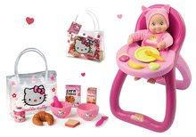 Komplet stolček za hranjenje MiniKiss Smoby z zvokom in set za zajtrk v torbi