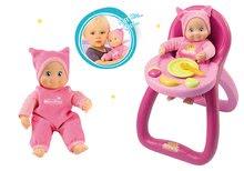 Komplet stolček za hranjenje MiniKiss Smoby z zvokom in dojenček z zvokom s kapico