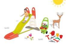 SMOBY 310261-17 šmykľavka Toboggan XL s vodou+vozík pre záhradníka Piknik od 3 rokov