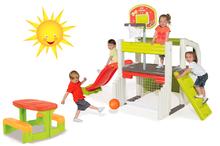 Szett játszócenter Fun Center Smoby csúszdával hossza 150 cm és piknik asztal 2 éves kortól