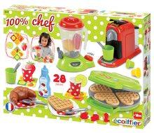Dětský vaflovač 100% Chef Écoiffier s mixérem, kávovarem a vaflemi od 18 měsíců s 28 doplňky zelený