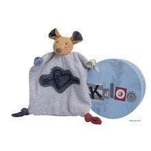 Șoricel de pluș de dormit și păpușă de mână Blue Denim-Doudou Kaloo 18 cm în ambalaj de cadou pentru cei mai mici albastru