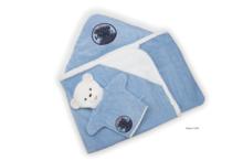 Fürdőlepedő kapucnival Blue Denim-Bath Kaloo fürdőkesztyűvel legkisebbeknek kék