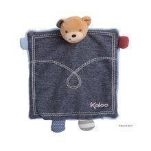 Plüss mackó alvóka és kesztyűbáb Blue Denim-Doudou Kaloo 18 cm ajándékcsomagolásban a legkisebbeknek kék