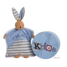 Plüss nyuszi alvóka és kesztyűbáb Blue Denim-Doudou Kaloo 18 cm ajándékcsomagolásban legkisebbeknek kék